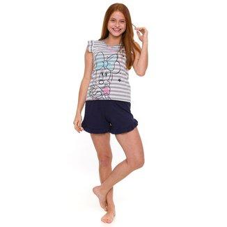 Pijama Juvenil Minnie Listrado Disney Feminino