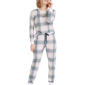 Pijama Longo Cor Com Amor Com Legging Poá Feminino