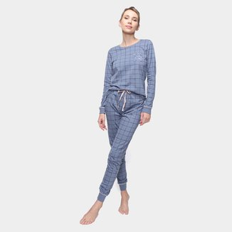 Pijama Longo Cor Com Amor Xadrez Feminino
