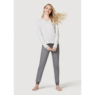 Pijama Longo Decote V - 7BXBMD2EN12 Feminino