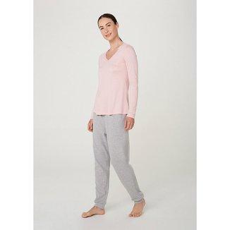 Pijama Longo Feminino Decote V - 7BHR1BEN11