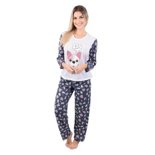 Pijama Longo Feminino Estampado Marcelle - Branco
