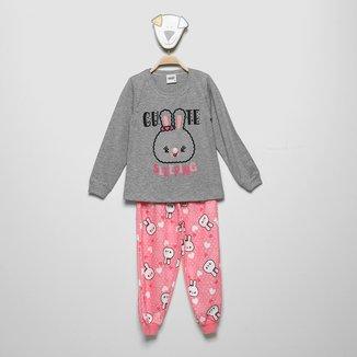 Pijama Longo Infantil Duzizo Moletom Brilha No Escuro Feminino