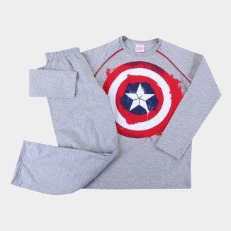 Pijama Longo Infantil Marvel Evanilda Capitão America Masculino