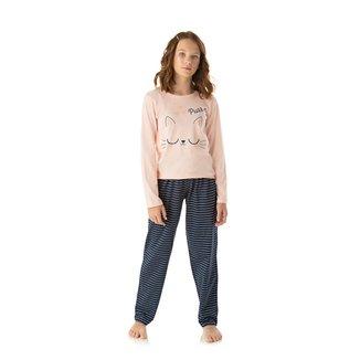 Pijama Longo Juvenil Duzizo Camiseta + Calça Brilha no Escuro Feminino