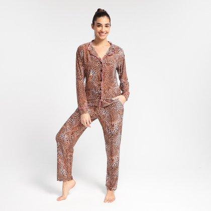 Pijama Longo Volare Onça Feminino