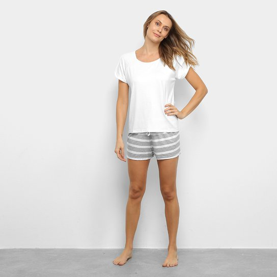Pijama Lupo Camiseta Manga Curta + Shorts Listrado Feminino - Off White