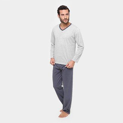 Pijama Lupo Masculino - Masculino-Chumbo
