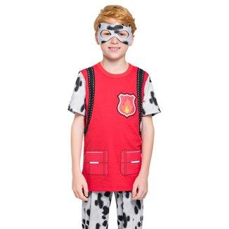 Pijama Manga Curta Com Calça - Cão Bombeiro  Masculino Infantil