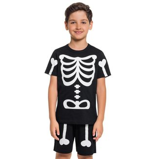 Pijama Manga Curta - Esqueleto Infantil