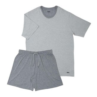 Pijama Manga Curta Gola Careca Listrado Viscose Mash