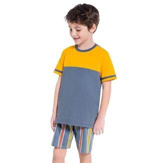 Pijama Manga Curta Masculino Infantil Listras