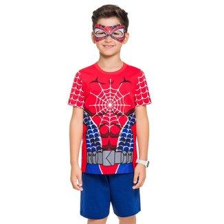 Pijama Manga Curta - Super Herói Aranha Masculino Infantil
