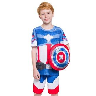 Pijama Manga Curta - Super Herói Com Escudo Masculino Infantil