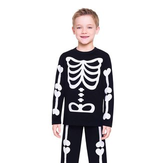 Pijama Manga Longa - Esqueleto Masculino Infantil