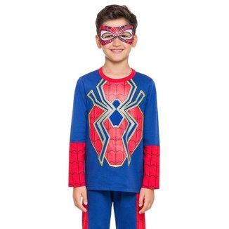Pijama Manga Longa - Super Herói Aranha Masculino Infantil