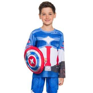 Pijama Manga Longa - Super Herói Com Escudo Masculino Infantil