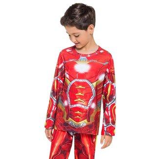 Pijama Manga Longa - Super Herói De Aço Masculino Infantil