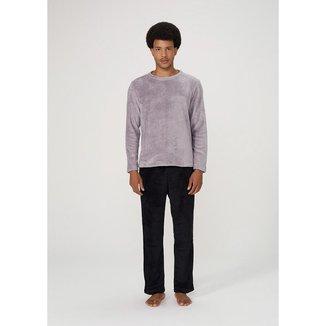 Pijama Masculino Em Fleecê De Algodão