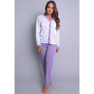 Pijama MVB Modas Aberto Blusa Com Botões E Calça Feminino