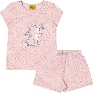 Pijama Rolu com blusa e shorts em meia malha Coleção Gatinha 93934