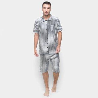 Pijama Volare Curto Casual Listrado Masculino