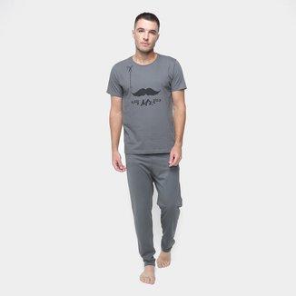 Pijama Volare Longo Mr Mustache Masculino