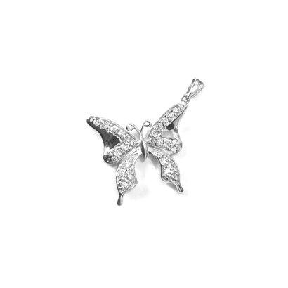 Pingente Borboleta de Prata c/ Zircônia