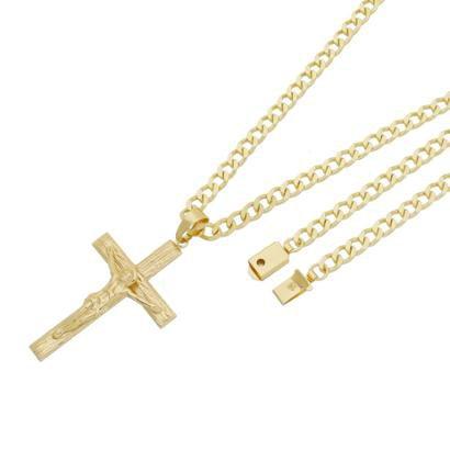 Pingente Crucifixo Com Corrente Grumet Fecho Gaveta Tudo Joias Folheado a Ouro 18k