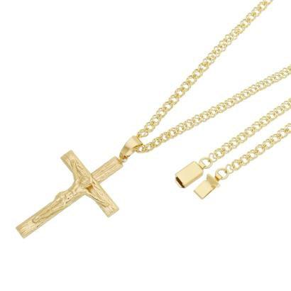 Pingente Crucifixo Com Corrente Losango Dupla Gaveta Tudo Joias Folheado a Ouro 18k
