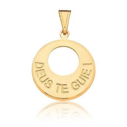 Pingente Estelle Semijoias Deus te Guie Banhado Ouro 18k Feminino