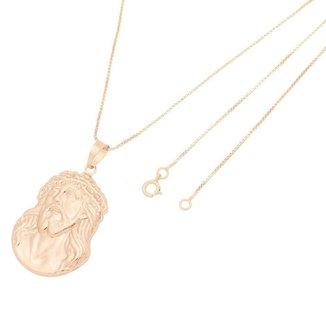 Pingente Face Cristo Com Corrente Veneziana Folheado a Ouro Rosê