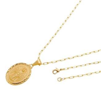Pingente Medalha Anjo da Guarda Com Corrente modelo francesa Folheado a Ouro 18k
