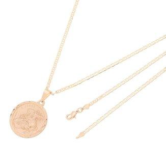 Pingente Medalha de São Jorge Com Corrente Elo Italiano Folheado a Ouro Rosê