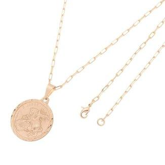 Pingente Medalha de São Jorge Com Corrente modelo francesa Longa Folheado a Ouro Rosê