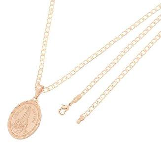 Pingente Medalha Nossa Senhora de Fátima Com Corrente Elo Grumet Folheado a Ouro Rosê
