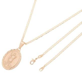 Pingente Medalha Nossa Senhora de Fátima Com Corrente Elo Italiano Folheado a Ouro Rosê