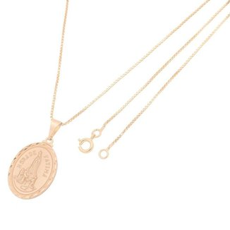 Pingente Medalha Nossa Senhora de Fátima Com Corrente Veneziana Folheada a Ouro Rosê