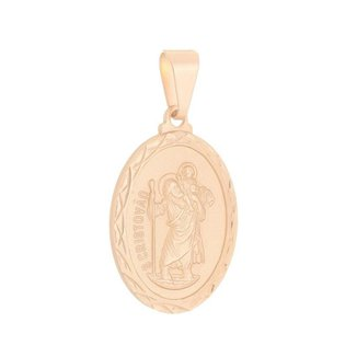 Pingente Medalha São Cristovão Folheado a Ouro Rosê