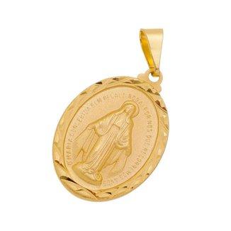 Pingente Nossa Senhora das Graças Milagrosa Folheada a Ouro 18k