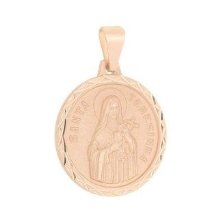 Pingente Santa Terezinha Folheado a Ouro Rosê