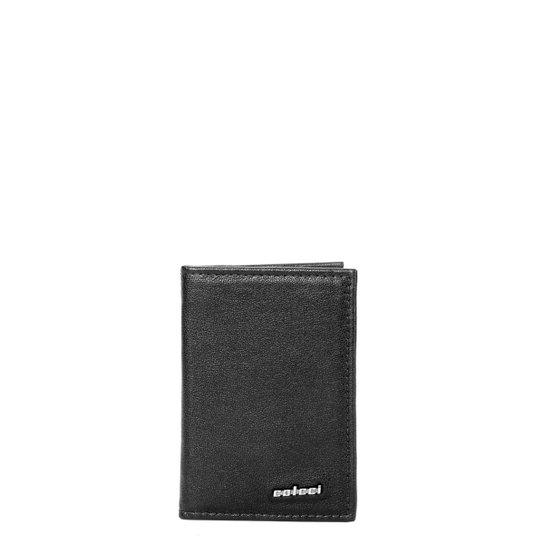 Porta Cartão Couro Colcci Básico Liso Masculino - Preto