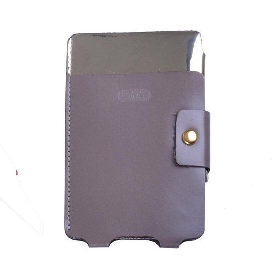 Porta Smartphone de Couro - Cinza