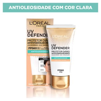 Protetor Solar Diário L'Oréal Paris UV Defender Antioleosidade FPS 60 Cor Clara 40g