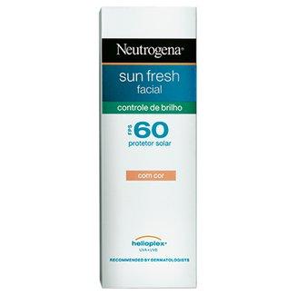 Protetor Solar Facial Neutrogena Sun Fresh Controle de Brilho com Cor FPS 60 50ml