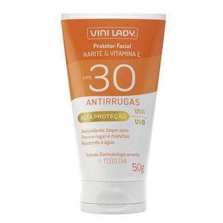 Protetor Solar FPS 30 Facial Antirrugas Karité Vitamina-E 50g Vini Lady