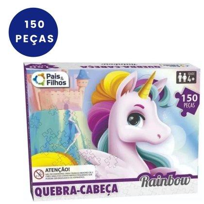 QUEBRA CABECA PUZZEL CRIANCA INFANTIL RAINBOW UNICORNIO 150 PECAS PAIS E FILHOS