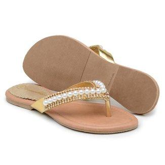 Rasteira Couro Gomes Shoes Detalhe Pérola Feminina