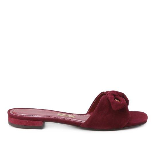 Rasteira Couro Santa Lolla Camurça Cabra - Vermelho Escuro