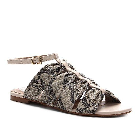 Rasteira Couro Shoestock Cobra Drapeado - Off White